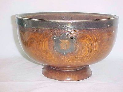 Antique English Oak Treen Footed Bowl 1800's