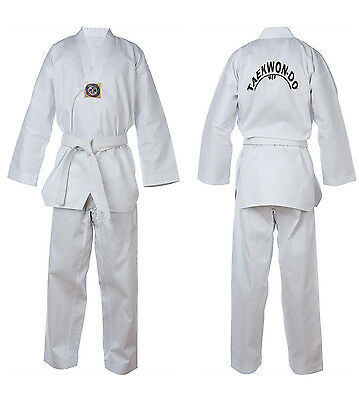 Taekwondo Suit Uniform White New TurnerMAX inc. FREE White Belt & FREE Delivery