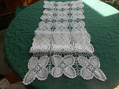 Snow White Hand Crochet Lace Runner In The Popular Pineapple Pattern,  Circa1930