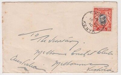 Stamp Uganda Kenya Tanzania 20c KGV1 on 1940 cover to Melbourne Cricket Club