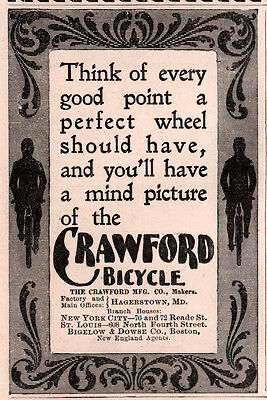 Ad Lot Of 2 1890 's Ads Crawford Bicycle Nouveau Hagerstown
