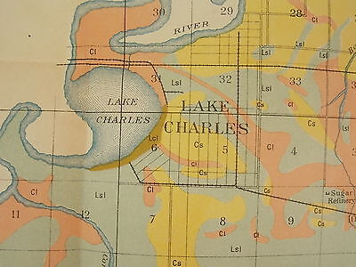 Antique 1901 Map Louisiana Lake Charles Chloe Iowa Junction Approx 27 X 16