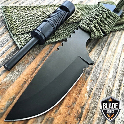 "7"" FIRE STARTER + WHISTLE FIXED BLADE COMBAT SURVIVAL HUNTING KNIFE TANTO Boot G"