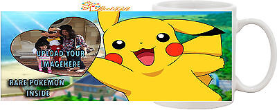 New Personalised Pokemon Heart image/text Tea Cup Mug Birthday Gift for Children
