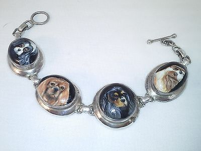 FOUR Cavalier King Charles Spaniel Handpainted on sterling silver bracelet 8""