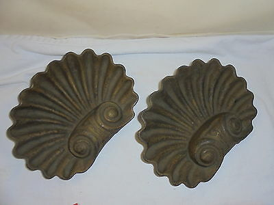 Antique cast iron clam shells architectural lot of 2