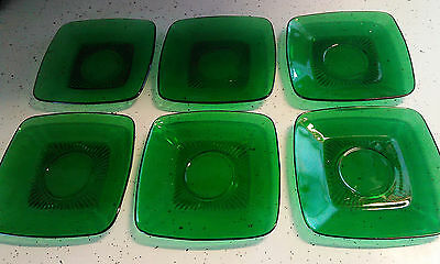 "6 Anchor Hocking Fire King Forest Green Glass Charm Square 5 1/2"" SAUCER PLATES"
