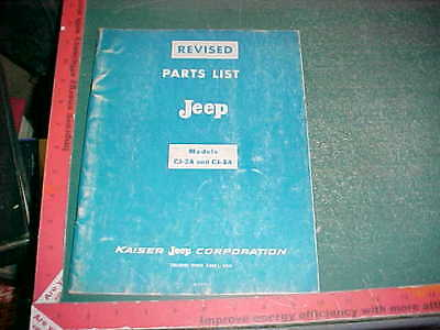 1968 REVISED JEEP CJ-2A & CJ-3A PART #s LIST (AVAILABLE PARTS on 3-1-1968) vg