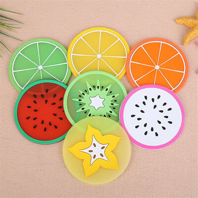 6pcs Fruit Coaster Colorful Silicone Cup Drinks Holder Mat Tableware Placemat NE