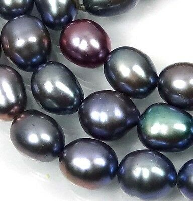 A+ 6x5mm Gray Peacock genuine Freshwater Pearl Rice Barrel Beads 16""