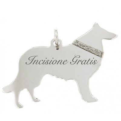 Ciondolo cane Collie in argento 925 rodiato incisione gratis mm 27x35