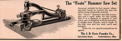 1906 A  Ad J B Foote Foundry Co Fredericktown  Hammer Saw Set