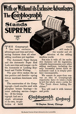 Early 1900 's Ad Comptograph Company Adding Machine