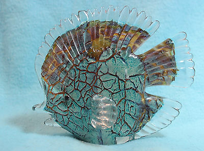 Beautiful blown glass Ocean fish- multi dichronic colors
