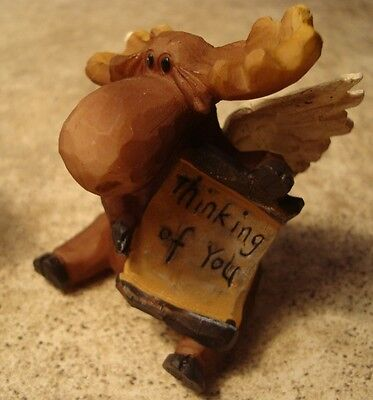 THINKING OF YOU - Rustic Lodge Faux Wood Carved MOOSE ANGEL Cabin Figurine Decor
