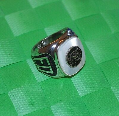 Firefighter Ring Size 7.5 MOP Signet Silver Tone Fire Hat Ladder Hydrant 7 1/2