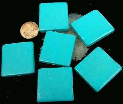 6 Wood Flat Square Beads 30mm - Turquoise Blue