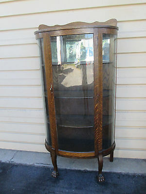 57492   Antique Oak China Cabinet Curio