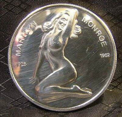 Marilyn Monroe Playboy Pose One Ounce Fine Silver Coin Round 1926 1962
