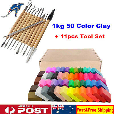 1KG 50 Color Kids DIY Craft Fimo Modelling Soft Clay Block With 11pc Tool Kit