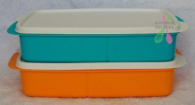 Tupperware Sandwich Keeper Large Divided Lunch Box -  Orange or Blue- New