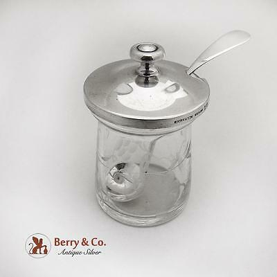 Vintage Mustard Pot And Ladle Acid Etched Glass Sterling Silver S Kirk And Son