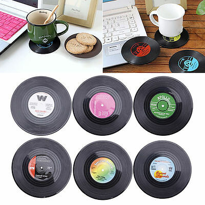 Black 6pcs Round Vinyl Record Coaster Cup Drinks Holder Mat Tableware Placemat