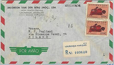 62374  -  MOZAMBIQUE Moçambique  - POSTAL HISTORY:   COVER to ITALY 1956 - FISH