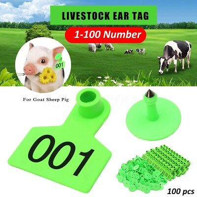 Green Plastic 1-100 Number Animal Livestock Ear Tag Set For Goat Sheep Pig Cow