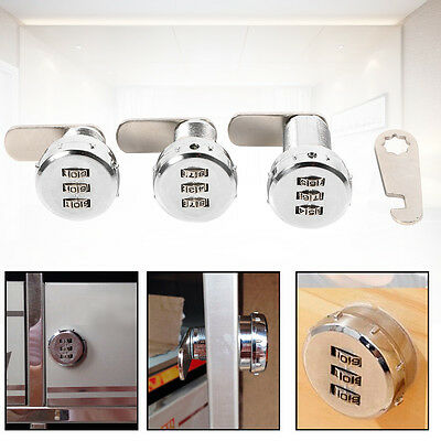 3 Digit Cam Coded Lock Password Machine Combination Locks For Cabinet Chest AF