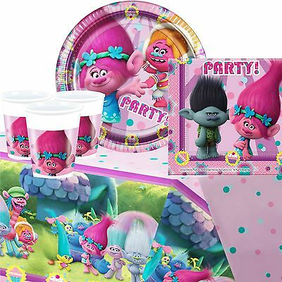 Trolls Childrens Birthday Party Guest Pack Set Tableware Plates Cups Napkin 8-48