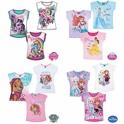 Girls T-Shirt Short Sleeve Top Disney Princess Frozen My Little Pony Cotton New