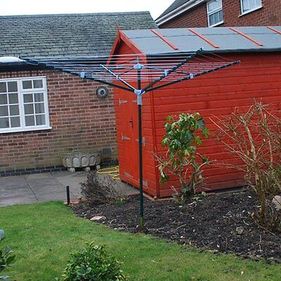 Kingfisher Heavy Duty 4 Arm Rotary Clothes Airie Dryer 50M Washing Line Fordable