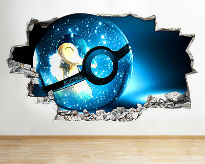 Q792 Pokemon Blue Kid Cool Bedroom Smashed Wall Decal 3D Art Stickers Vinyl Room
