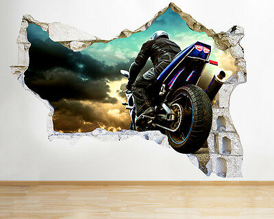 Q769 Motocycle Cool Bedroom Race Smashed Wall Decal 3D Art Stickers Vinyl Room