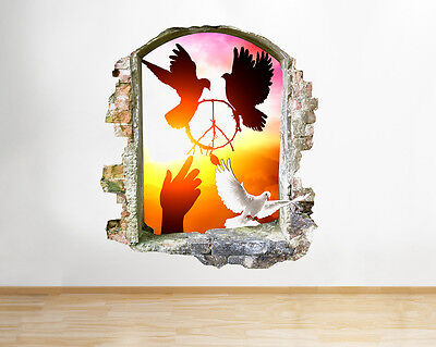 Q706 Dove Peace Sunset Bedroom Hall Window Wall Decal 3D Art Stickers Vinyl Room