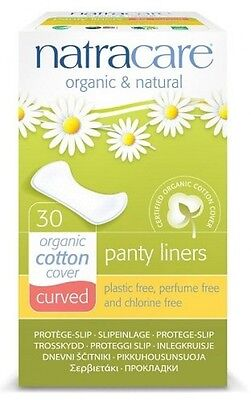 Natracare Organic Natural Curved Panty Liners Cotton Cover Pack Of 30 BRAND NEW