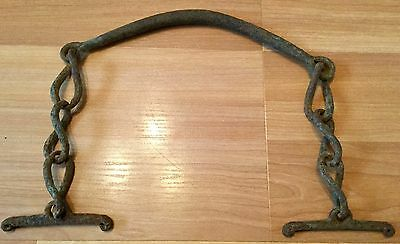 Old Vtg Antique Original Hand Forged Iron Unknown Farm Implement Tool Mini Yoke