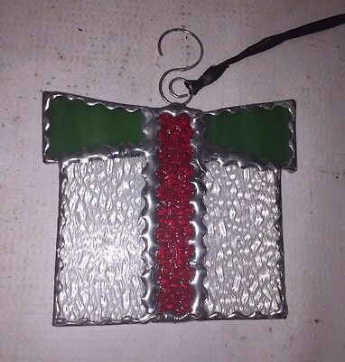 Christmas Gift Stained Glass Window Decor - Sun Catchers - Red & Green Ribbon