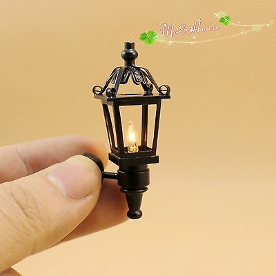 hot !Dollhouse Miniature 1:12 outdoor wall black Lamp light with electric wire