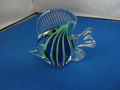 Vintage  Hand Blown Glass Fish Figurines Clear And Blue  3''
