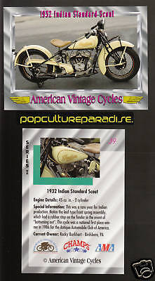 1932 INDIAN STANDARD SCOUT Vintage Motorcycle CARD