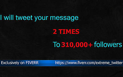 I will tweet your message 2 times to 294k audience on twitter