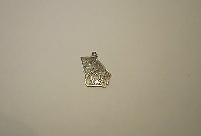 Sterling Silver GEORGIA State Necklace Pendant, The Peach State .925 Charm