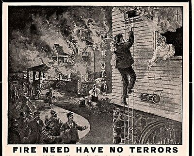 1890's Ad Harris Safety Co Portable Fire Escapes Firemen Burning House