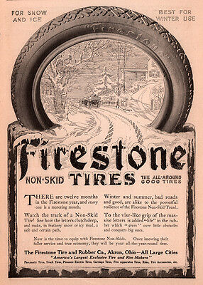 Ad Lot Of 5 Early Firestone Tire Ads Mechanics Hall Gum Dipped Snow Factory