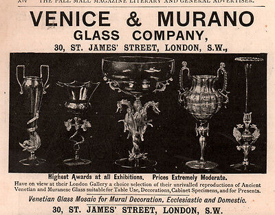 1890 's Ad Venice And Murano Glass Co Ancient Venetian Muranese Glass