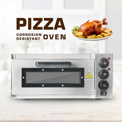 2000W Electric Pizza Oven single Deck 110V Commercial Baking Fire Stone Catering