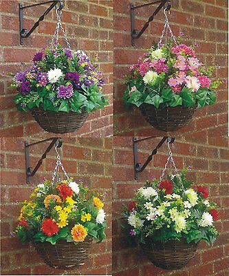 """A/1 (12""""basket X 16""""spread ) Ready To Hang Artificial Hanging Basket & Flowers"""