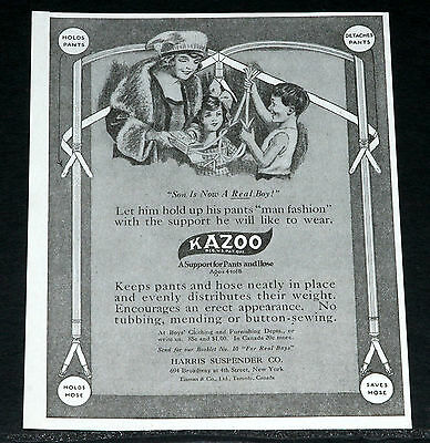 1919 Old Magazine Print Ad, Harris Kazoo Pants & Hose Suspenders, For Real Boys!